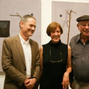 Larry Abramson, Helen Ginton (chief curator, TA Museum) and Moti Omer (director, TA Museum)