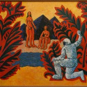 Купальщицы и космонавт.2007.х.м.(из коллекции Олега Усачева)