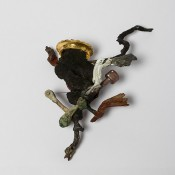 Incarnation of Prince frog   .    Brooch        2014        Wood, color, silver, iron, plastic, stainless steel, brass, enamel,        Fish, shibuishi, gold leaf       190X130X50mm