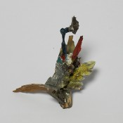 Cumulative existence  .     Brooch        2014        Wood, color, silver, plastic, stainless steel, brass, paper        120X110X60mm