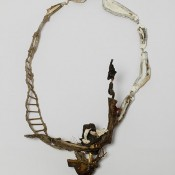 """Ole*Bebo""     .    Necklace         2014         Wood, color, silver, plastic, brass, brass, fabric, gold,         380X300X80mm"